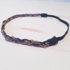 Accessories - Elastic headband - gold chain and black rope